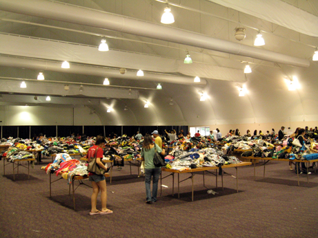 Piles and piles of clothes at the Ed Hardy Sample Sale