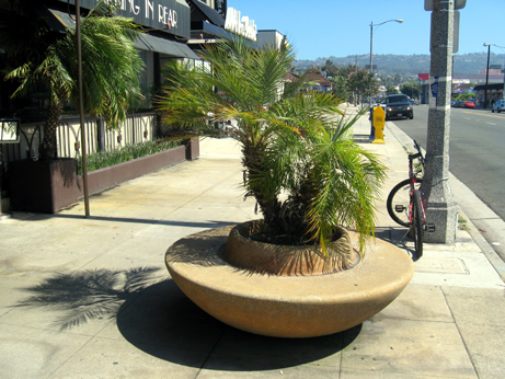 This unique circular planter bench in Redondo Beach would fit in perfectly in Pasadena as well